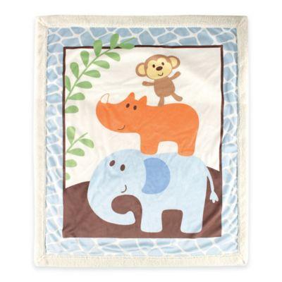 BabyVision® Luvable Friends® Safari Sherpa Blanket in Blue