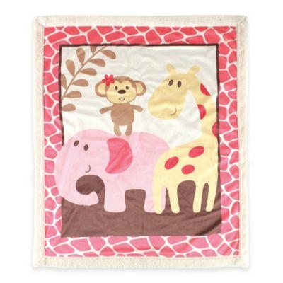 BabyVision® Luvable Friends® Safari Sherpa Blanket in Pink
