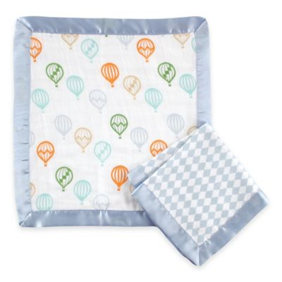 BabyVision® Hudson Baby® 2-Pack Balloon Print Muslin Security Blanket in Blue