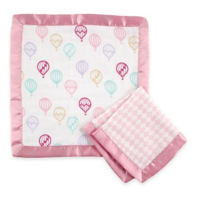 BabyVision® Hudson Baby® 2-Pack Balloon Print Muslin Security Blanket in Pink