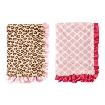 BabyVision® Hudson Baby® Fur Blanket in Pink Lattice with Satin Ruffle