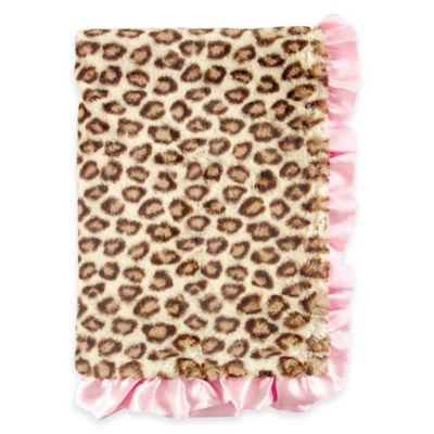 BabyVision® Hudson Baby® Fur Blanket in Leopard with Satin Ruffle