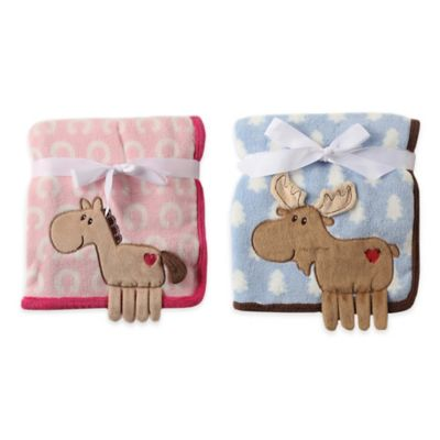 BabyVison® Hudson Baby® Coral Fleece 3-D Animal Blanket in Blue