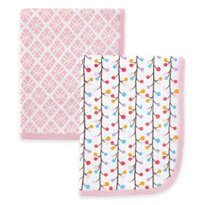 BabyVision® Hudson Baby® 2-Pack Swaddle Blankets in Pink Budding Branches