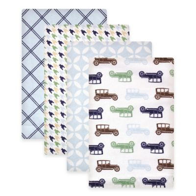 BabyVision® Hudson Baby® 4-Pack Cars Flannel Receiving Blankets in Blue