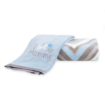 Tadpoles 2-Piece Mommy and Baby MicroPlush Blanket Gift Set in Blue