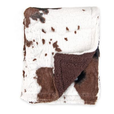 Tadpoles Cowhide Print Double-Sided Plush Blanket