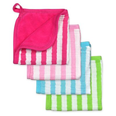 green sprouts® by i play® 4-Pack Organic Muslin Washcloths in Pink/Aqua/Green