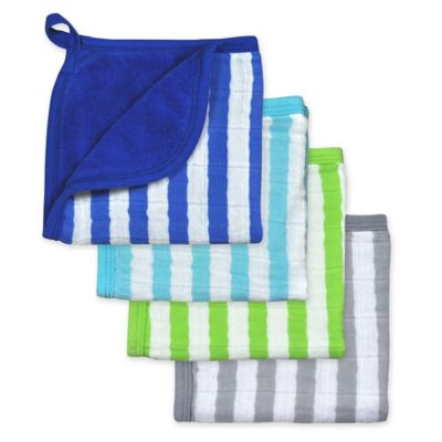 green sprouts® by i play® 4-Pack Organic Muslin Washcloths in Blue/Aqua/Green/Grey