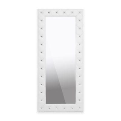Baxton Studio 31.5-Inch x 71-Inch Stella Tufted Floor Mirror in Pink