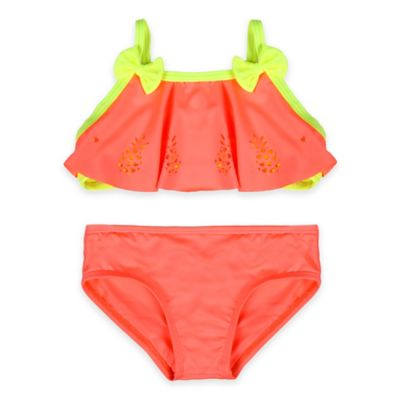Baby Buns Size 3M 2-Piece Pineapple Cut-out Swimsuit in Orange/Yellow