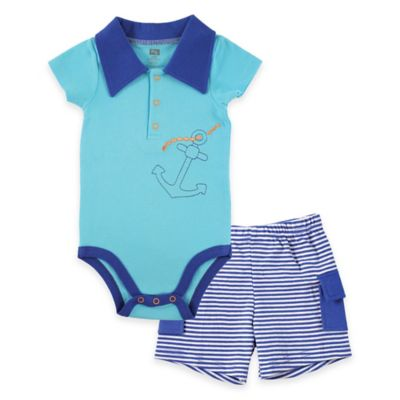 BabyVision® 2-Piece Anchor Bodysuit and Cargo Short Set in Blue