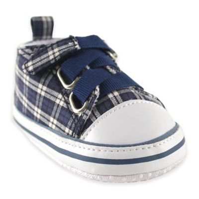 BabyVision® Luvable Friends™ Size 12-18M Plaid Sneaker in Navy/White