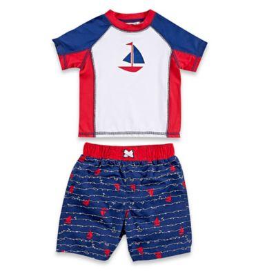 Baby Buns Size 12M 2-Piece Americana Rashguard Set in Red/White/Blue