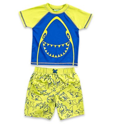 Baby Buns 2- Piece Happy Shark Rashguard Set in Yellow/Blue