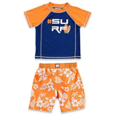 "Baby Buns Size 12M 2-Piece ""#Surf"" Rashguard Set in Orange/Navy"