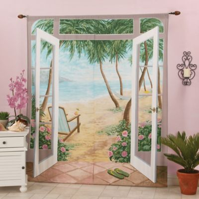 Island Breeze 84-Inch Rod Pocket Window Art Curtain Panel