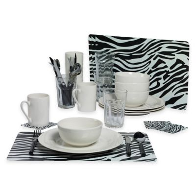 Tabletops Gallery® Zebra 36-Piece Dinnerware Set