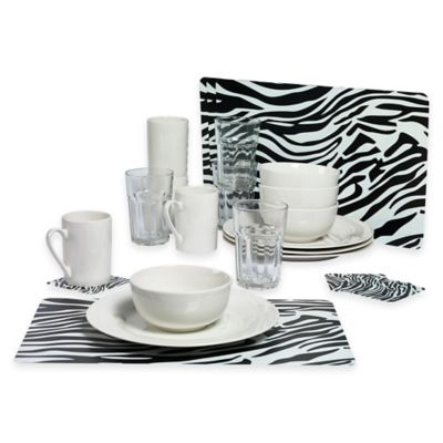Tabletops Gallery® Zebra 24-Piece Dinnerware Set