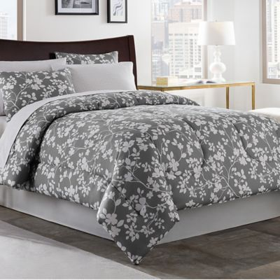 Fara 6-Piece Twin Comforter Set in Charcoal/Ivory