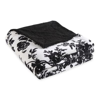 VCNY Floral Giverny Reversible-to-Sherpa Twin Blanket