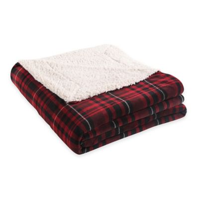 VCNY Durham Plaid Reversible-to-Sherpa Printed Queen Blanket