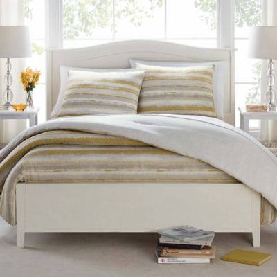 Butter Cotton Painted Stripe King Comforter Set in Taupe