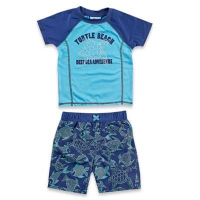Baby Buns Size 3M 2-Piece Blue Turtle Rashguard Set