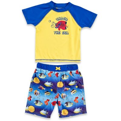 Baby Buns 2-Piece Size12M Under The Sea Rashguard Set in Yellow