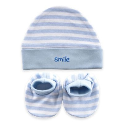 Blue Cap and Booties Set