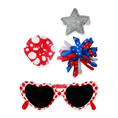 So'Dorable 4-Piece Star Sunglasses and Hair Clip Set in Red/Silver