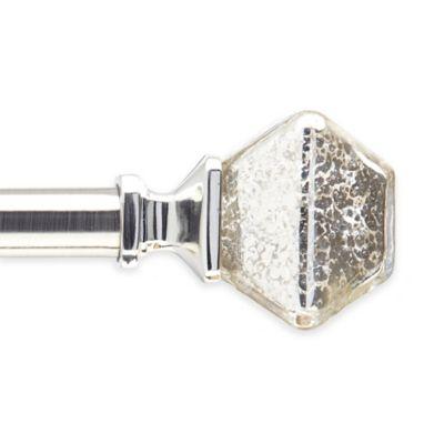 Peri Mercury Glass 66-Inch - 120-Inch Drapery Rod 3-Piece Set in Pewter