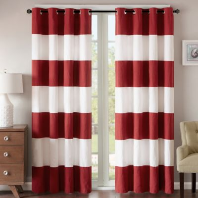 Regency Heights Parker Stripe 63-Inch Grommet Top Window Curtain Panel in Red/White