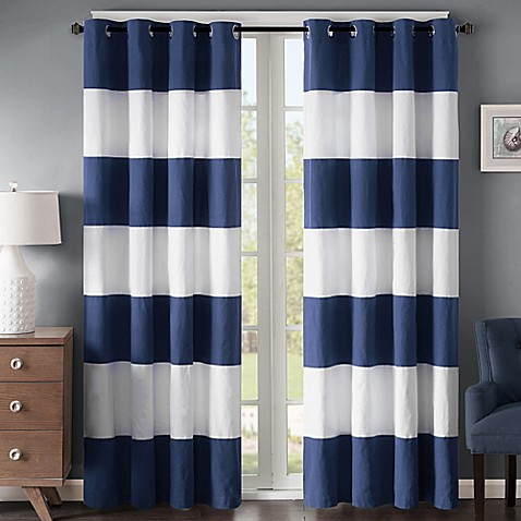 buy regency heights parker stripe 63 inch grommet window curtain panel in navy white from bed. Black Bedroom Furniture Sets. Home Design Ideas