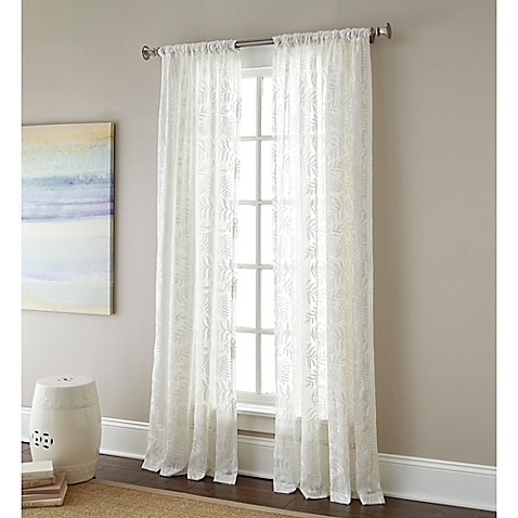rod pocket embroidered sheer window curtain panel bed bath beyond