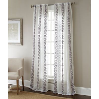 Sherry Kline Vertical Vines 63-Inch Rod Pocket Embroidered Sheer Window Curtain Panel