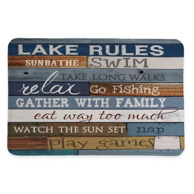Laural Home Lake Rules 20-Inch x 30-Inch Memory Foam Bath Rug