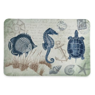 Laural Home® 20-Inch x 30-Inch Seaside Postcard Memory Foam Rug