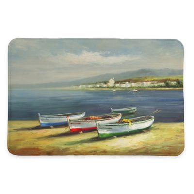Laural Home® 20-Inch x 30-Inch Boats on the Beach Memory Foam Rug