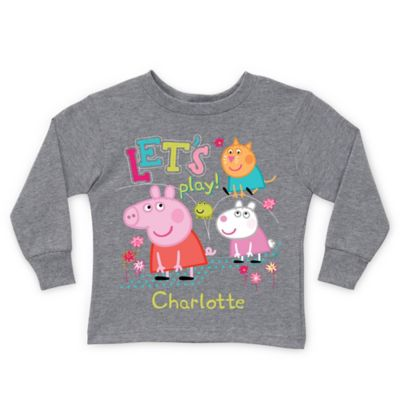 "Peppa Pig Size 2T ""Let's Play!"" Long Sleeve T-Shirt in Grey"