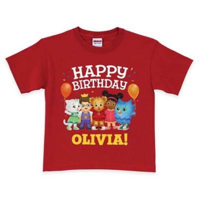 "Daniel Tiger's Neighborhood Size 6/8 ""Happy Birthday"" Short Sleeve T-Shirt in Red"