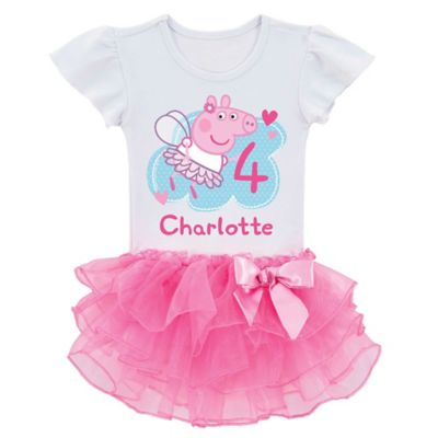 Peppa Pig Size 2T Birthday Fairy Tutu T-Shirt in White/Pink