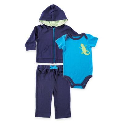 Baby Vision® Yoga Sprout Size 0-3M 3-Piece Hoodie, Pant, and Lizard Bodysuit Set in Blue