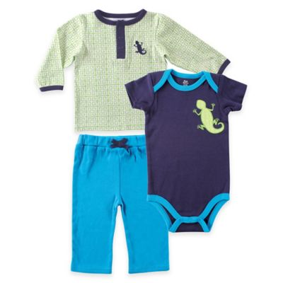 Baby Vision® Yoga Sprout Size 12-18M Long Sleeve Top, Pant, and Lizard Bodysuit in Blue/Green