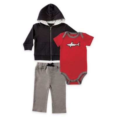 Baby Vision® Yoga Sprout Size 18-24M Hoodie, Pant, and Shark Bodysuit Set in Black /Grey/ Red