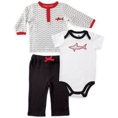Baby Vision® Yoga Sprout Size 12-18M Long Sleeve Shark Top, Pant, and Shark Bodysuit Set