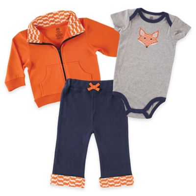 Baby Vision® Yoga Sprout Size 12-18M Jacket, Pant, and Fox Bodysuit in Orange / Navy / Grey