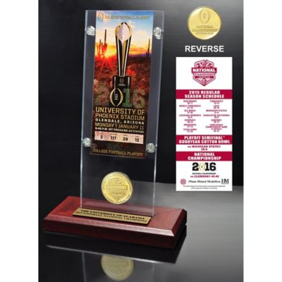 University of Alabama 2016 National Champions Ticket & Bronze Coin Acrylic Desktop Holder
