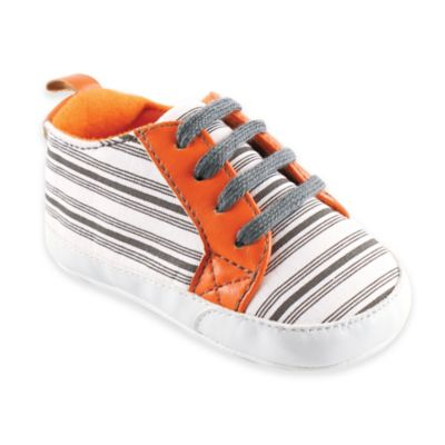 BabyVision® Yoga Sprout Size 0-6M Striped Sneaker in Orange