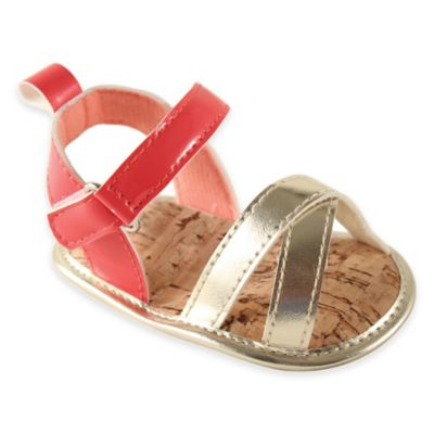 BabyVision® Luvable Friends™ Size 12-18M Bright Strappy Sandals in Coral/Gold